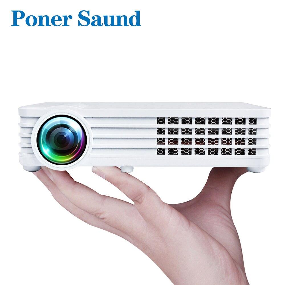 Poner Saund DLP900WIFI D'obturation 3D De Poche Portable Mini Projecteur En Option Android Bluetooth WIFI Home Cinéma Soutien HD1080P