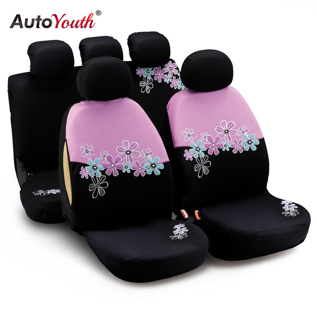 AUTOYOUTH Car Seat Covers For Women Universal Fit Most Cars And Airbag Compatible Pink Color With Flower Embroidery For TOYOTA