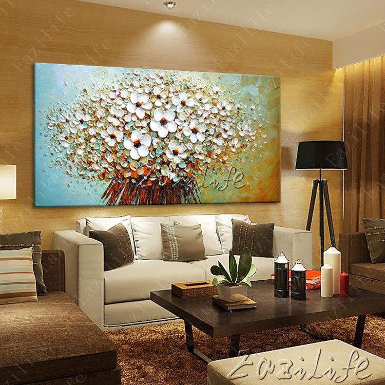 Nástěnná malba Květina Ručně malovaný paletový nůž 3D textura květina Ručně malovaná plátna Olejomalba Nástěnné obrazy pro LivingRoom5