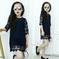 Princess Girls Lace Dress 2017 Summer Fall New Kids Girls Dress Party Wedding Birthday Dresses Teenage Girls Clothes Navy Blue