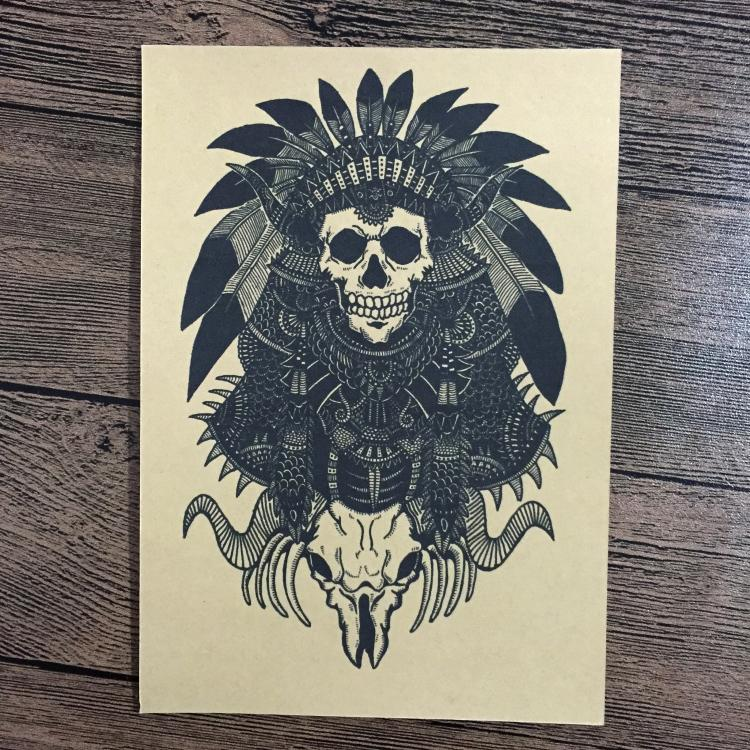 Free ship Retro Indians PUNK SKULL poster Vintage wall sticker Prints painting living room home decoration 42x30cm JIP-B236