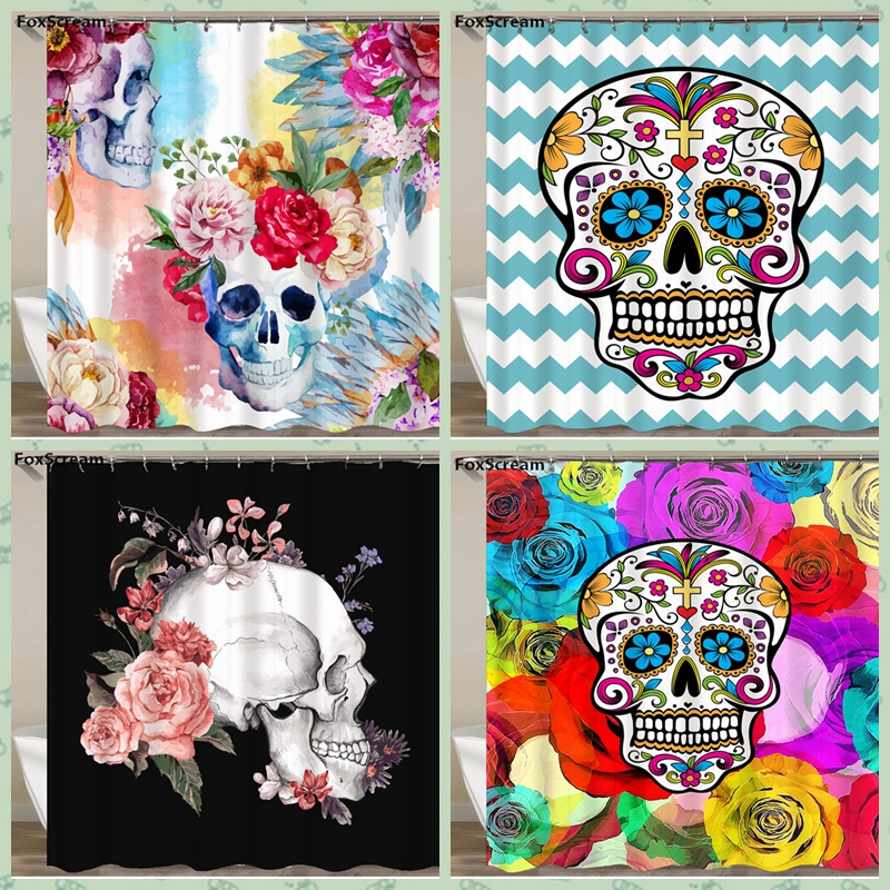 Mexican Fabric Sugar Skull Show Curtains Cartoon Colored Shower Curtain Bathroom Waterproof Polyester With Hooks