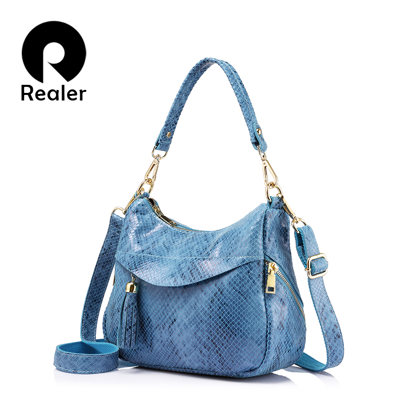 REALER brand high quality fashion women genuine leather shoulder bags female hobos handbag serpentine print Messenger bag 2017 100% genuine leather women bags luxury serpentine real leather women handbag new fashion messenger shoulder bag female totes 3
