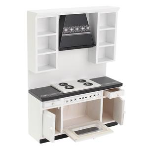 Image 3 - 1:12 בית בובות מיניאטורות מטבח ארונות סט עץ ריהוט אגן תנור דלפק # WD025