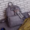 YOUYOU MOUSE  Fashion Bear Pendant Backpack Girls School PU Leather Women Backpack Double Zipper Women Bag Vintage Backpack