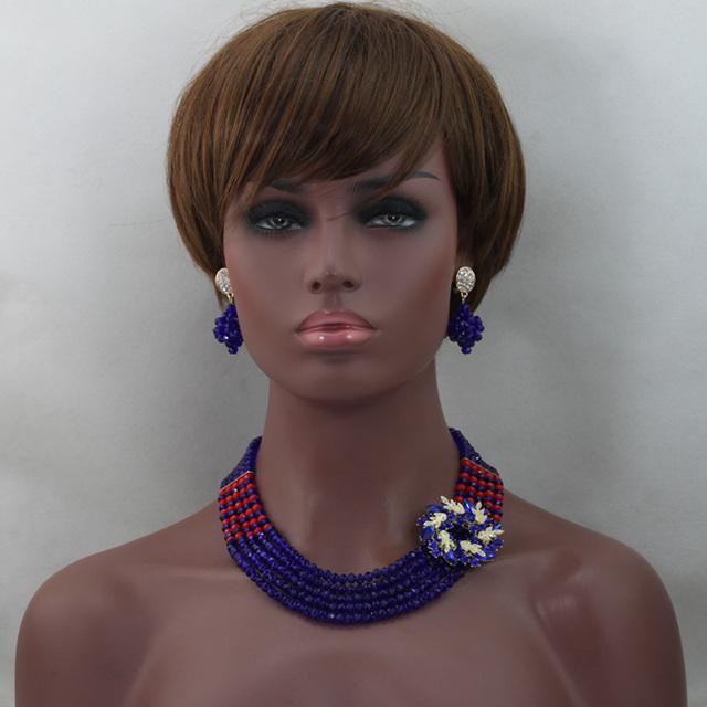 Pretty Royal Azul/Rojo Joyería de Perlas Africanas de La Joyería de Cristal Azul Perlas de Boda Africanos Envío Libre WD490