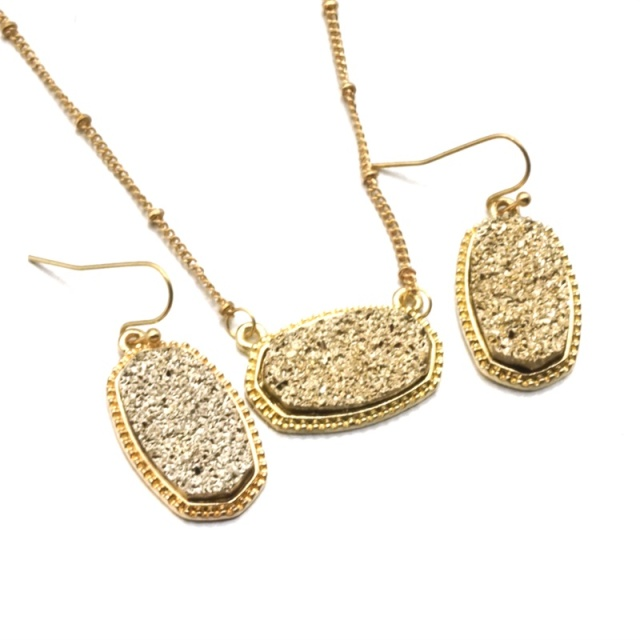 Druzy Drusy Jewelry Set...