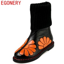 EGONERY shoes 2017 new round toe casual elegance mid calf boots warm and comfortable high quality fashion boots lady shoes