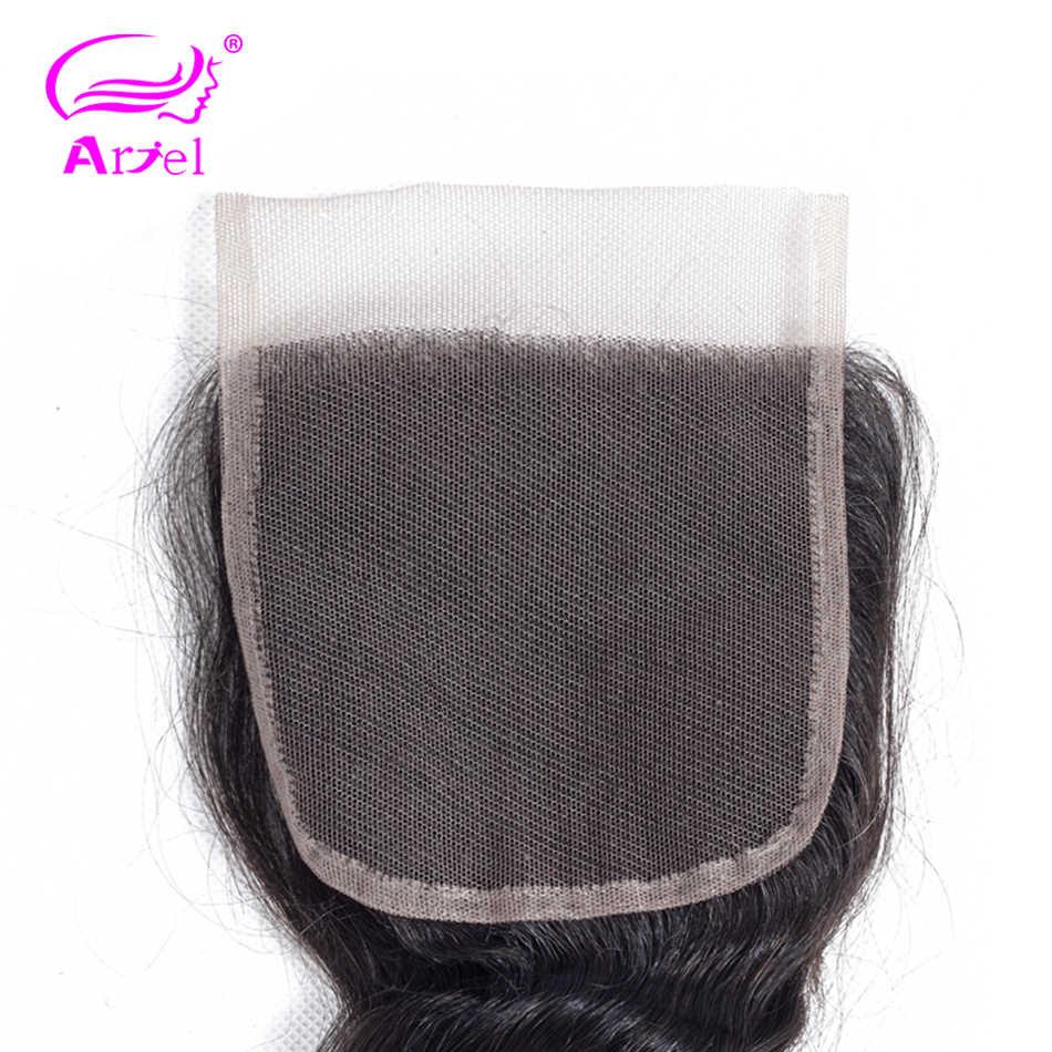 Ariel cabello humano brasileño onda suelta Cierre de encaje 1 pieza 4X4 gratis/Medio/cierre de tres piezas cabello humano no Remy 100%