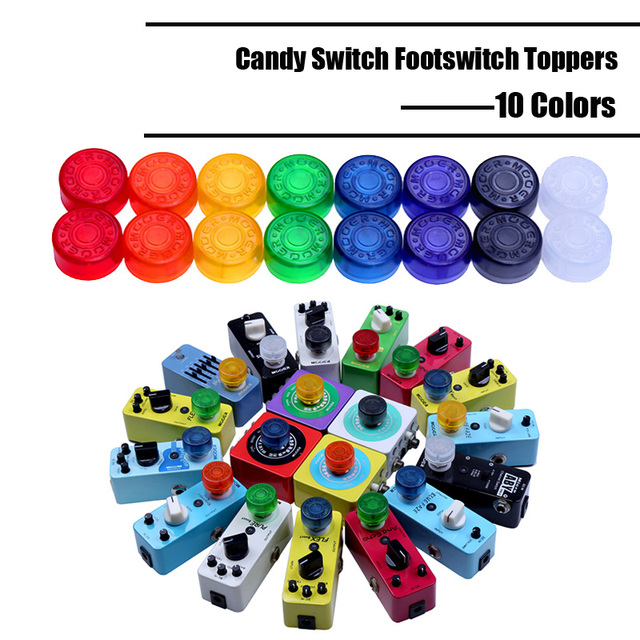 50 pcs  Multi Color Mooer Candy Cover Cap Footswitch Topper Colorful Plastic Bumpers For Guitar Effect Pedal