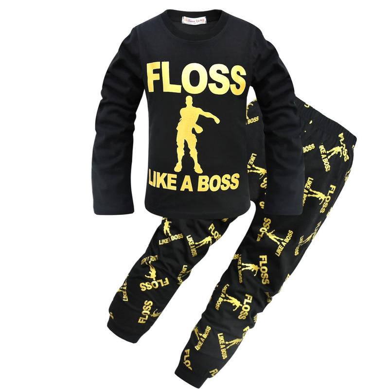 The PyjamaFactory Boys Floss Gaming Dance Black Gold Long Sleepsuit All in One