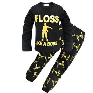 Image 2 - Kids Floss Like a Boss All Over Gaming Black Gold Cotton Long Pyjamas Youth Boys pajamas Children clothing set Boy pijamas PJS