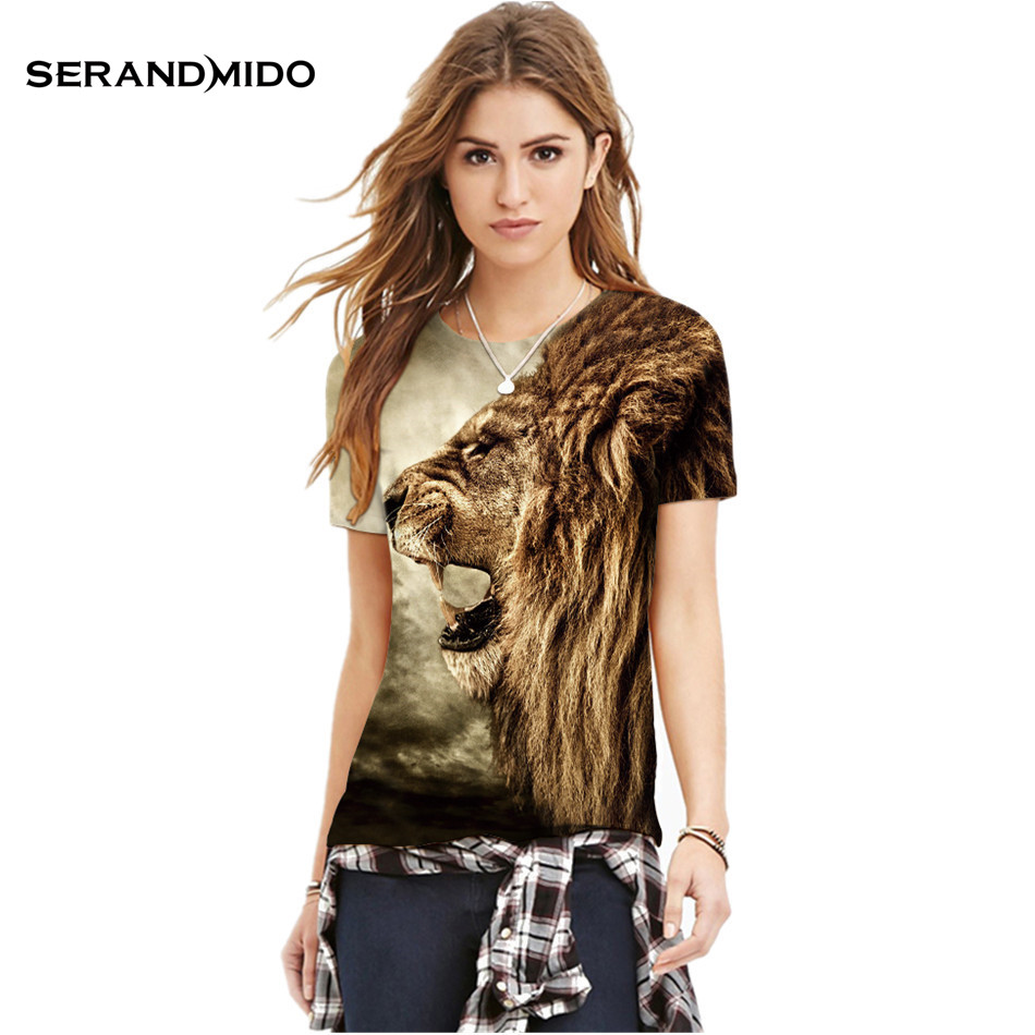 Serand Mido Lion Print 3D <font><b>Women</b></font>/Men's T shirt Animal Sexy Fashion T-shirts Polyester High <font><b>Quality</b></font> <font><b>Women's</b></font> Tees And Tops SMPST005