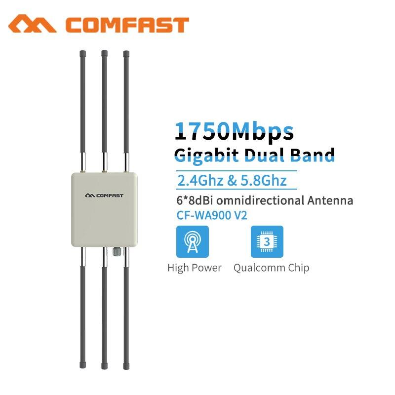 2.4G & 5.8G 1750 Mbps haute puissance 27dBm extérieur sans fil AP CPE PoE Wifi routeur signal booster base station avec antennes pour parc