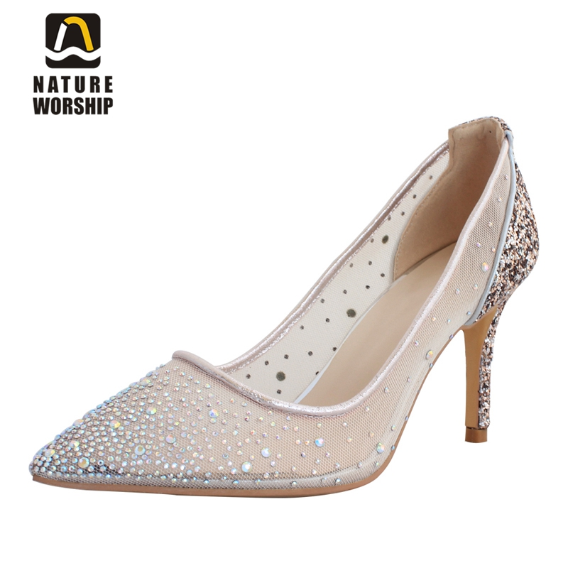 Nature Worship New Fashion Party Blingbling Sexy Shoes Pointed Toe Slip On Ladies Pumps Super High Thin Heels Shoes Big Size 43 spring autumn women pumps big size lazy shoes air mesh high thin heels pointed toe casual fashion party sexy slip on shallow