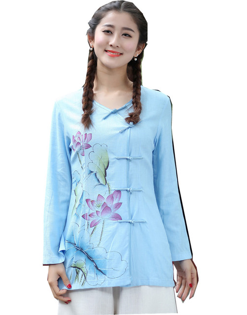 5d8c1363e Shanghai Story tang suit women's Sprint V Neck Chinese blouse china  clothing Chinese Shirt womens tops Linen tops