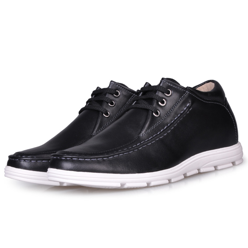 JC157 Mens Casual Calf Leather Height Increasing Elevator Shoes with Hidden Heels Get Taller 2.35/6CM Invisibly Black