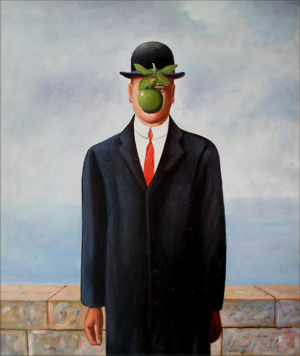 Hand Painted Oil Painting, Man with Apple on Face Repro