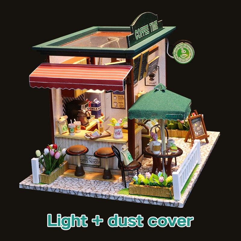 Casa de boneca em miniatura, casa de boneca com móveis, madeira, café da manhã, loja, brinquedos para crianças, meninas, aniversário, presente de natal