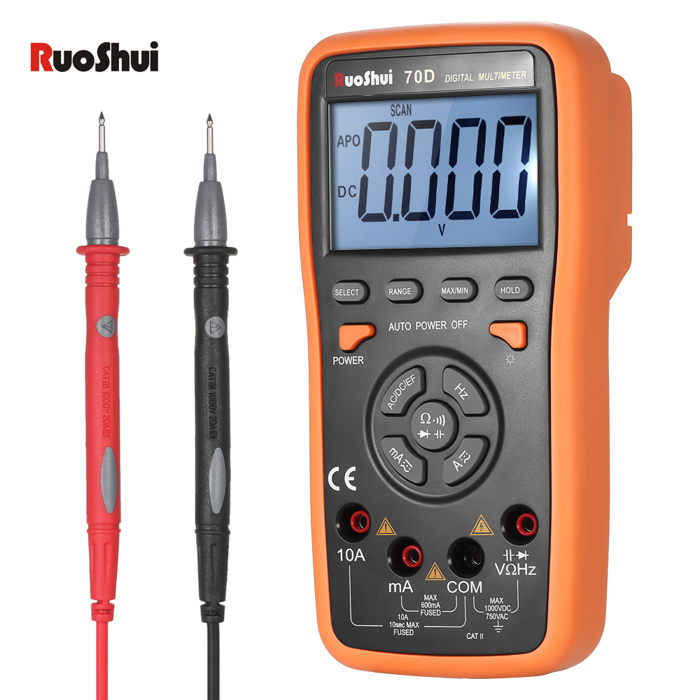 5999 Count Digital Multimeter True RMS DMM DC AC voltmeter Ammeter Voltage Current Resistance Diode Capacitance Frequency Tester