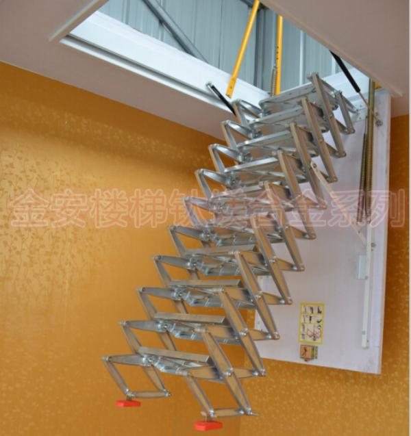 Magnesium Alloy Semi Automatic Models Retractable Attic Stairs Folding  Stairs Home Staircase Stand Mounted Invisible Contractio In Ladders From  Home ...
