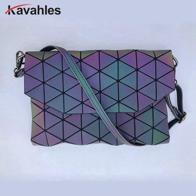 2018 Designer Women Evening bag Chain Shoulder Bags Laser Fold Over Handbags Geometric Luminous Bag Casual Clutch Messenger Bag