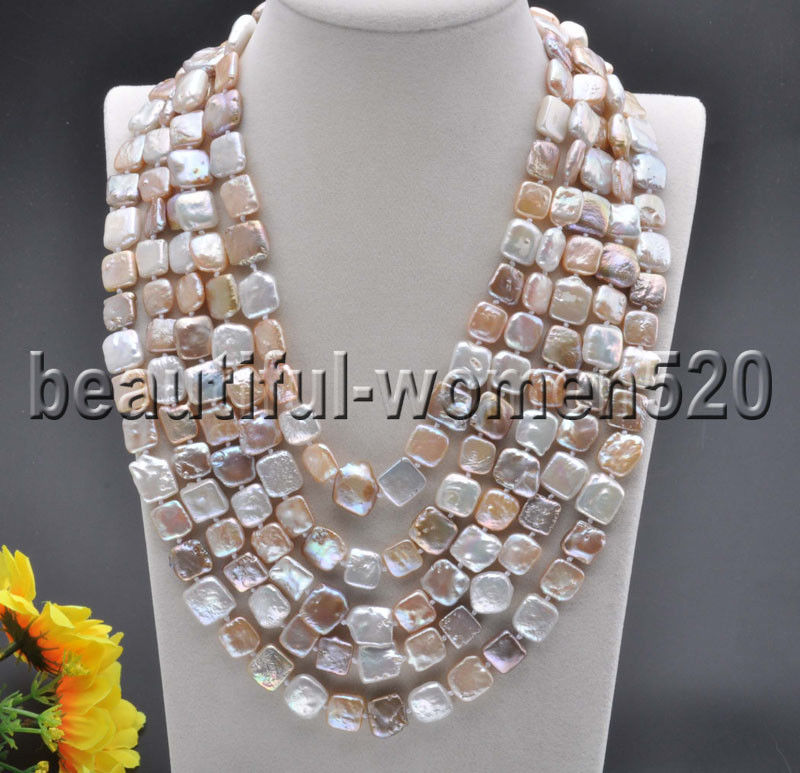 Z8178 12mm Pink White Lavender Square Coin Freshwater Pearl Necklace 100inch