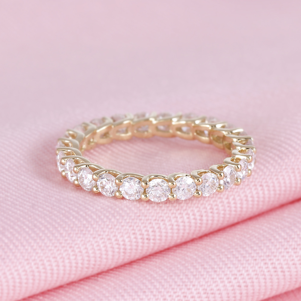 TransGem 14K 585 Yellow Gold 2.8mm Moissnaite Eternity Wedding Band-in Rings from Jewelry & Accessories    3