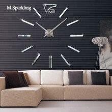 M.Sparkling DIY wall clock modern design digital sticker large size living room kitchen decorative 3D
