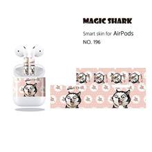 Magic Shark Cute Cat Chick Dog Rabbit Cartoon Pet PVC Sticker Case Cover for Airpods Air Pods Earphone 196-205(China)
