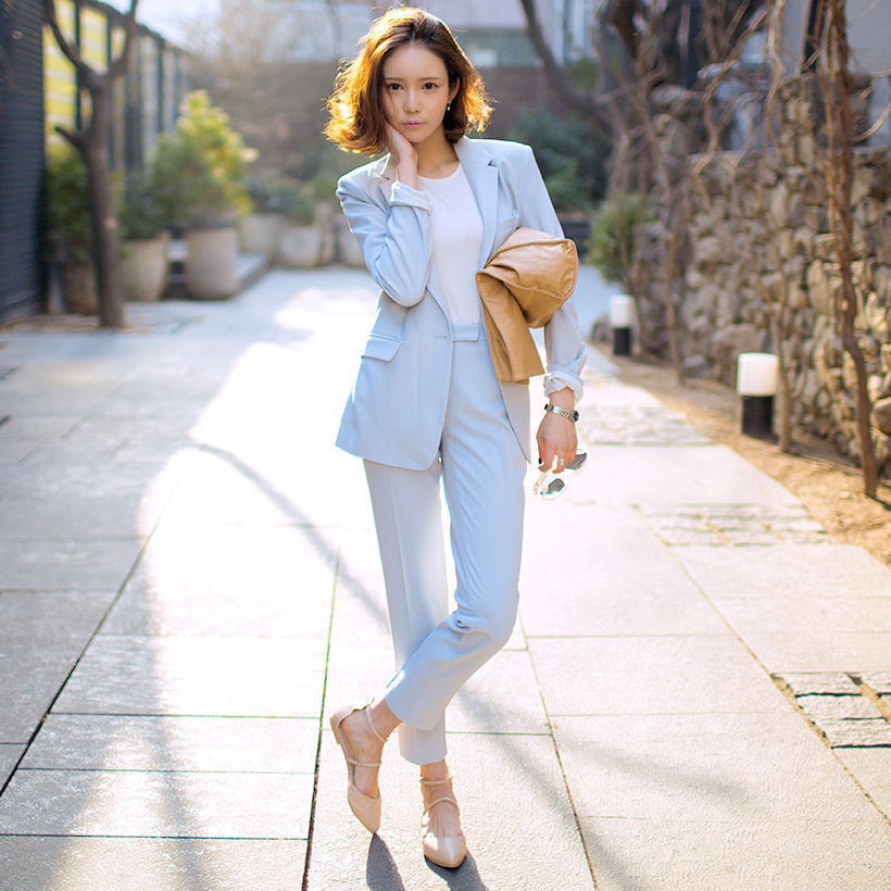 new career suit female 2017 spring and autumn long sleeved small suit jacket trousers casual two