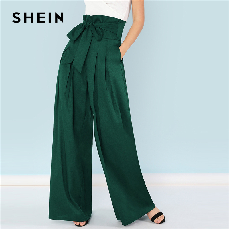 SHEIN Green Elegant Office Lady Self Belted Box Pleated Palazzo High Waist Minimalist Wide Leg Pants 2018 Autumn Casual Trousers