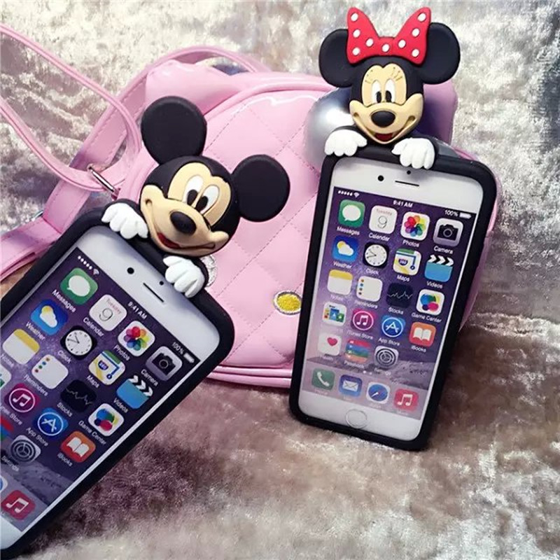 For Iphone Case 3D Crouching Hidden Minnie Mickey Mouse Stitch Silicone Funda Case for iPhone 6 6S/6Plus 6s plus/5 5s Case Cover