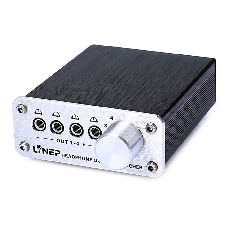 Selector Switch 1 Input 4 Outputs 6.5mm 3.5mm jack Audio Amplifier Splitter