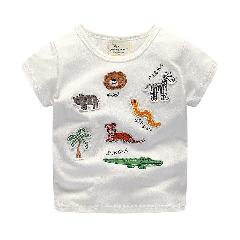 Baby Boy Gilrs T-Shirt Cute Cartoon Animals Embroidered Short Sleeve T Shirt Kids Cotton Tops Tee Children Clothing