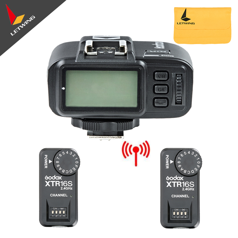 2x Godox XTR-16S Wireless 2.4G Power Control Flash Receivers + X1T-N TTL Wireless Transmitter For V850 V860C V860N Flash 2 receivers 60 buzzers wireless restaurant buzzer caller table call calling button waiter pager system