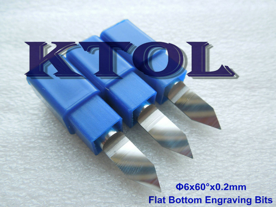 60 Degree 6 0 2mm Flat Bottom Tungsten Carbide CNC Router Bits Set for Wood Milling