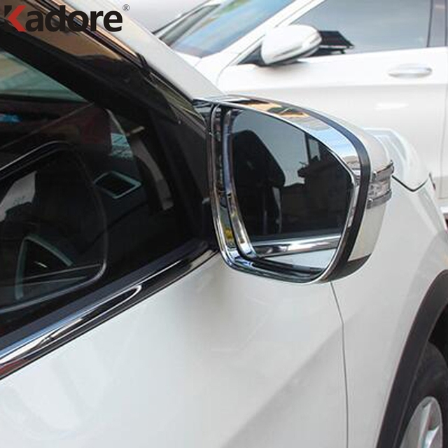 For Mitsubishi Outlander 2016 2017 2018 Chrome Rear Rearview Mirror Rain  Shade Cover Glass Sun Visor Shield Frame Car Styling 5e71160d256