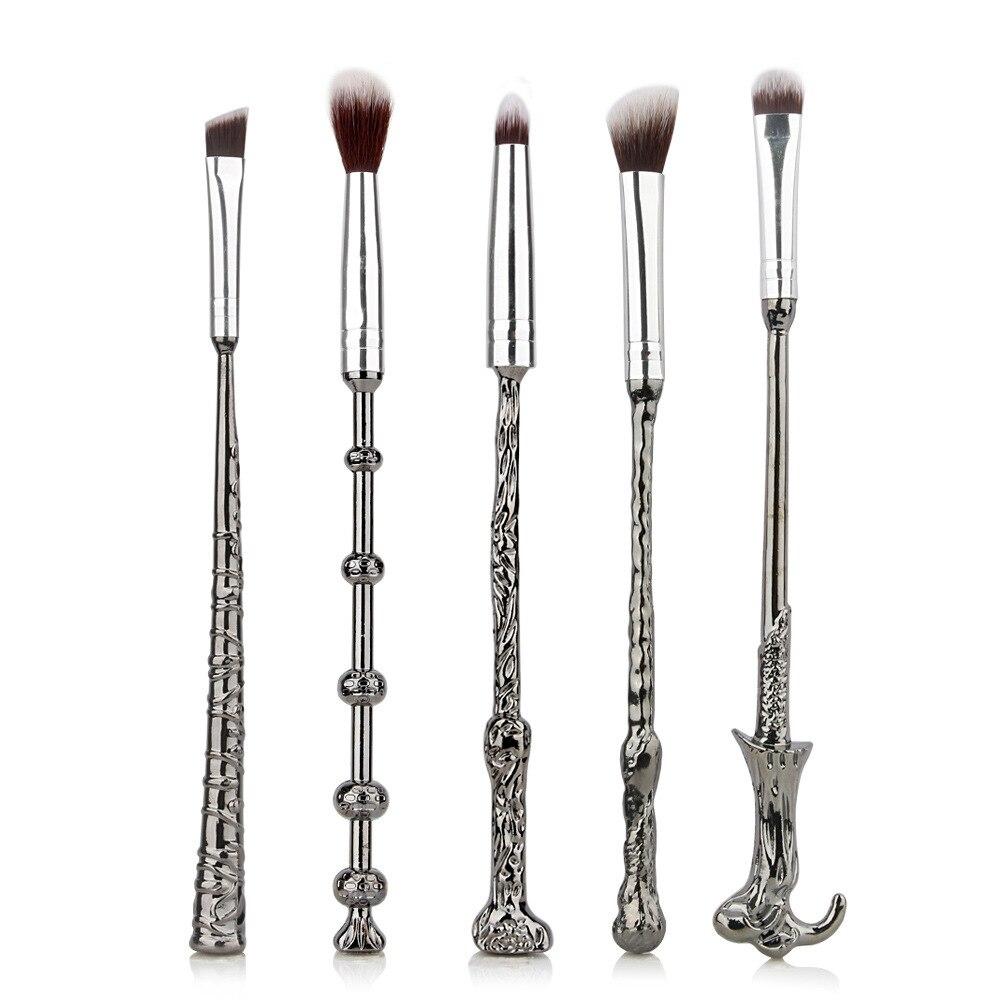 5 piezas Harry cepillo del maquillaje varita mágica cepillo de sombra de ojos de belleza cosmética Potter herramientas de brocha regalo de día de San Valentín