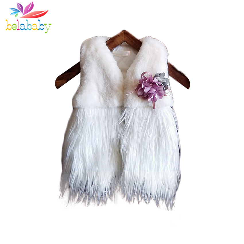 Belababy Girls Vest Jacket Winter Baby Girl Thick Warm Plush Waistcoat Coat Kids Flowers Sleeveless Fur Vests Jacket For 2-6Y