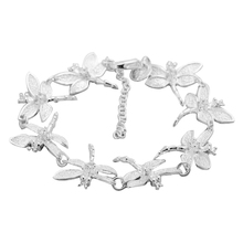 New Womens Chic Silver Chain Dragonflies Lobster Clasp Bracelet Jewelry