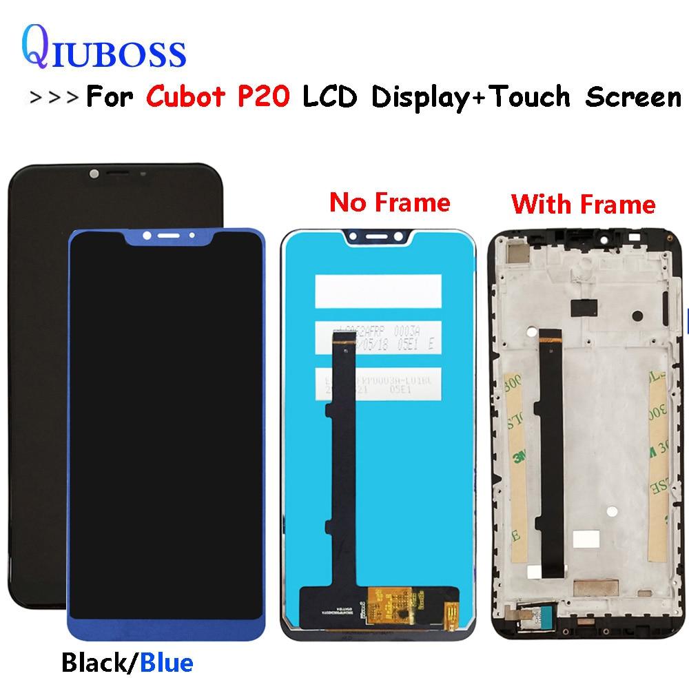 Bleu/noir pour l'affichage à cristaux liquides de CUBOT P20 + pièces de rechange d'assemblage d'écran tactile accessoires de rechange pour l'affichage à cristaux liquides de Cubot P20