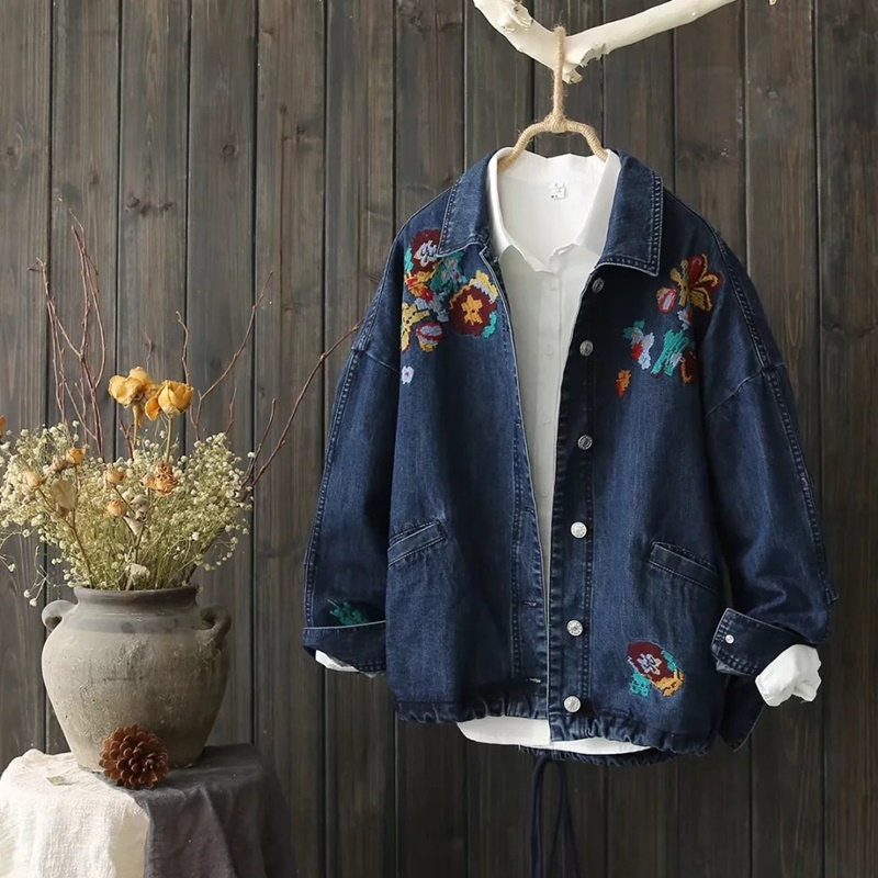 Jean jacket 2018 women embroidered denim female blue bomber jacket with embroidery coat autumn jacket for