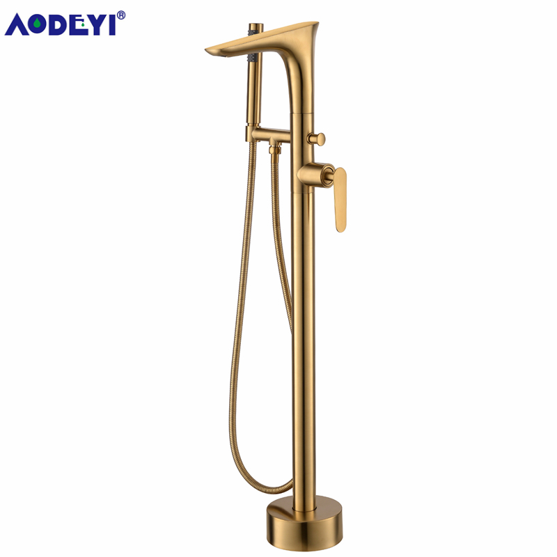 Freestanding Bath Spout Shower Floor Mount Brass Shower Set Mixer Valve 2 Function Brushed Gold Bathtub Filler Mixer Taps