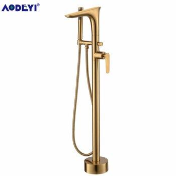 Freestanding Bath Spout Shower Floor Mount Brass Shower set Mixer Valve 2 Function Brushed Gold Bathtub Filler Mixer Taps