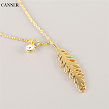 Canner Feather Gold Chain Necklace Collier Crystal Pendant Necklaces For Women Statement Jewelry 2019