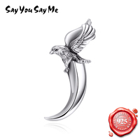 SAY YOU SAY ME 925 Sterling Silver Jewelry Punk Antique Eagle Silver Teeth Shape Pendant Necklace for Unisex Dropshipping