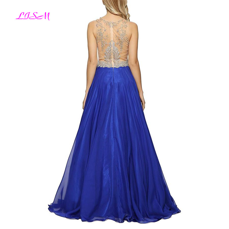 Crystals Beaded A-Line Prom Dresses Royal Blue Chiffon Evening Gowns Sheer Back Zipper Real Photos Long Formal Party Dresses
