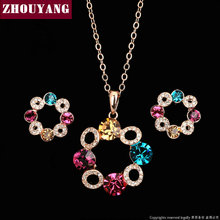 ZYS252 Happiness Ferris wheel Rose Gold Color Jewelry Necklace Earring Set Rhinestone Made with Austrian Crystals