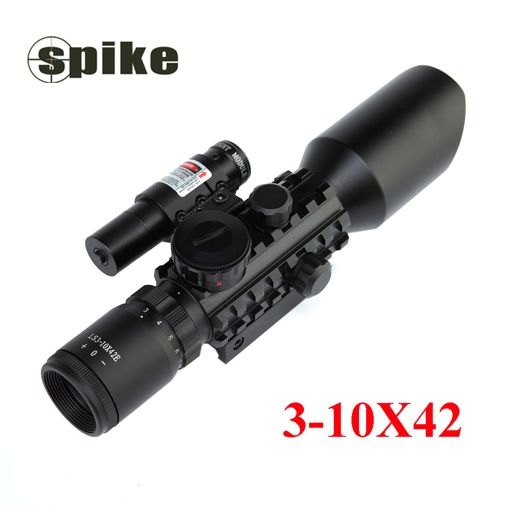 Hot sale Waterproof iron Spike M9 3-10x42 black ar 15 shotgun Accessory of Optical riflescope with red laser Sight